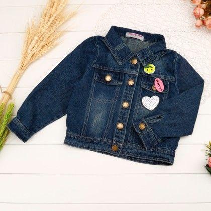 Dark Blue Love Applique Denim Jacket (blue) - Miss Denim