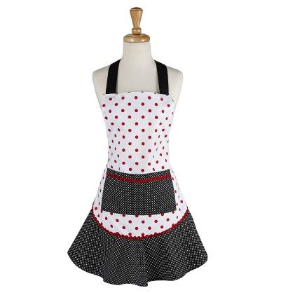 Black & Red Polka Dot Ruffle Apron - Design Imports