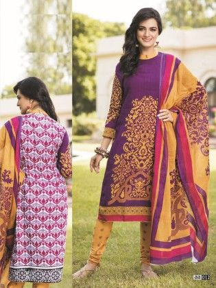 Cotton Printed Purple & Yellow  Dress Material - Fashion Fiesta