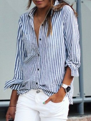 Blue Lapel Vertical Striped Blouse - She In