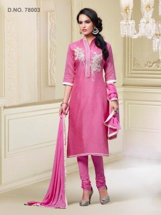 Chanderi Silk Dress Material Pink - Touch Trends Ethnic