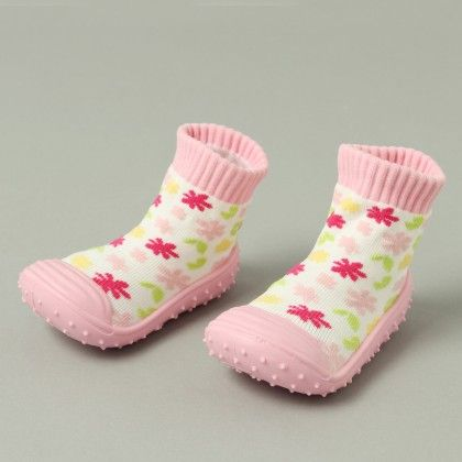 Finger Hard Cover Booties Baby Pink With Multi Colour Flower - Janya