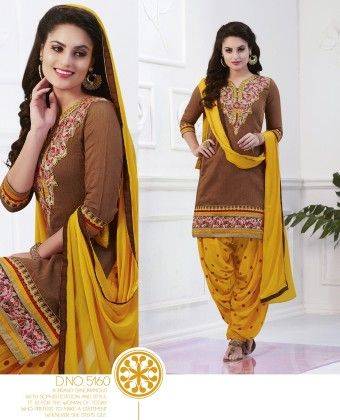 Cotton Patiyala Brown Yellow Dress Material - Fashion Fiesta