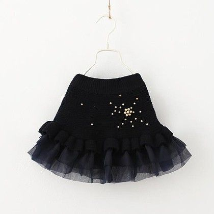 Party Special Winter Wool And Organza Skirt - Black - Mauve Collection
