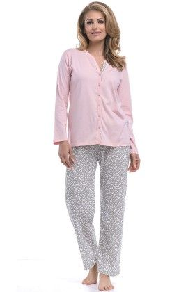 Pyjama Leopard Print Set With Contrast Piping At Inner Placket - Dobranocka