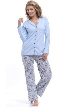 Pyjama Floral Set With Contrast Piping At Inner Placket-blue - Dobranocka