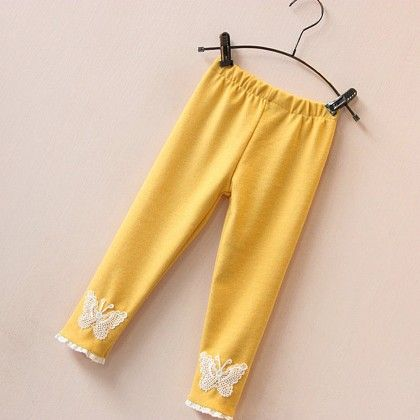 Butterfly Leggings For Winter - Yellow - Mauve Collection