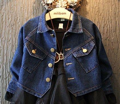 Dark Blue Two Pockets Denim Jacket (blue) - Miss Denim