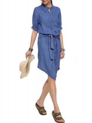 Stand Collar Buttons Denim Dress - She In