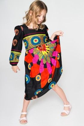 Black And Red Paisley Geometric Dress - Toddler And Girls - Yo Baby