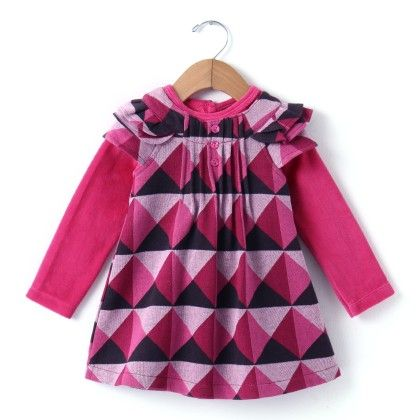Pink Square Jakard Print With Sheer Inner Frock - Yellow Duck
