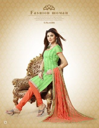 Chanderi Cotton Green Dress Material - Touch Trends Ethnic