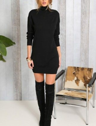 Black High Neck Long Sleeve Dress - She In