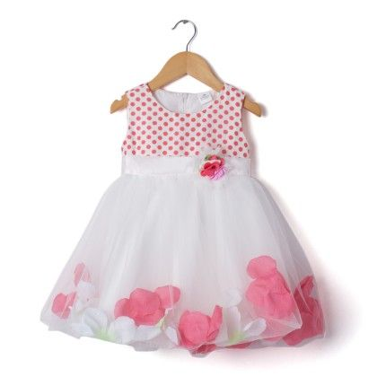 Peach & White Floral Applique Dress - Party Princess
