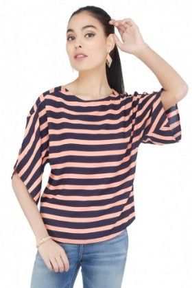 Womens Striped Coral Blouse - CottonWorld