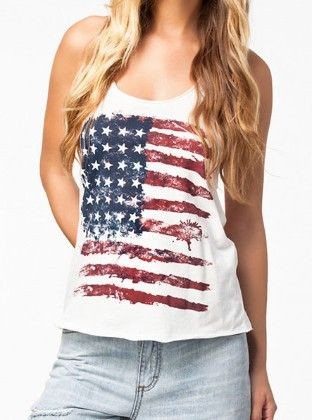 White Scoop Neck American Flag Print Tank Top - She In