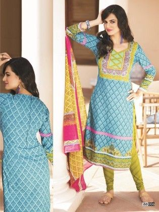 Cotton Printed Blue Dress Material - Fashion Fiesta