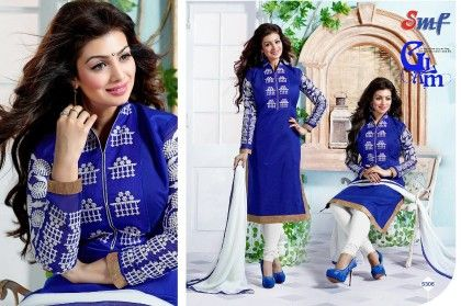 Royal Blue Embroid Salwar Suit With Dupatta - SMF