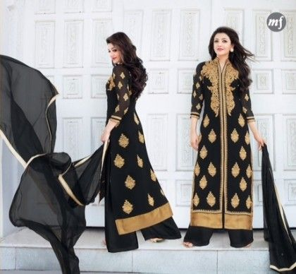 Black Pakistani Work Semi Stitched Dress - Fashion Fiesta