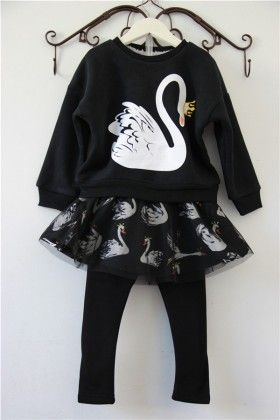 Swan Print Top & Skirt With Attached Leggings - Black - Mellow