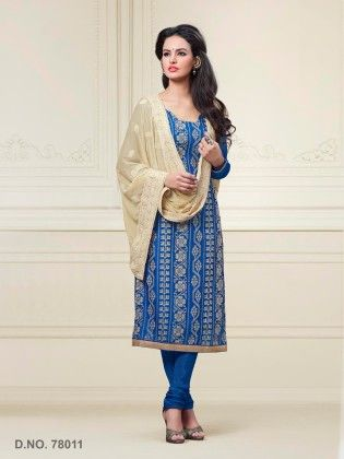 Chanderi Silk Dress Material - Blue - Touch Trends Ethnic