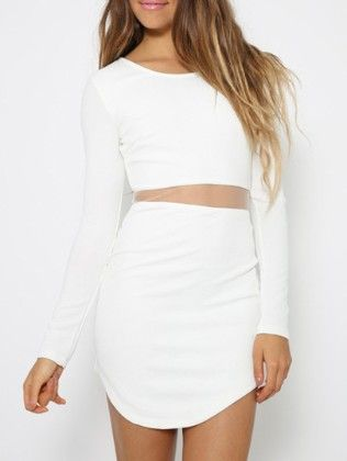 Long Sleeve Contrast Mesh Bodycon Dress - She In
