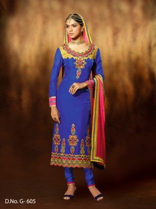 Chanderi Silk Blue Dress Material - Touch Trends Ethnic