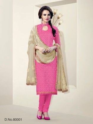 Chanderi Silk Dress Material -pink - Touch Trends Ethnic