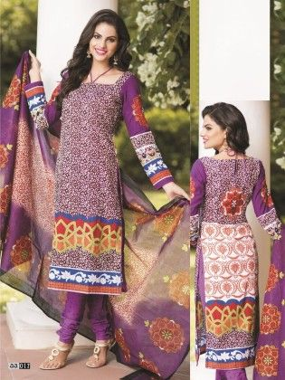 Cotton Printed Purple Dress Material - Fashion Fiesta
