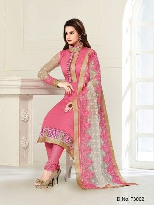 Pink Chanderi Silk Dress Material - Touch Trends Ethnic