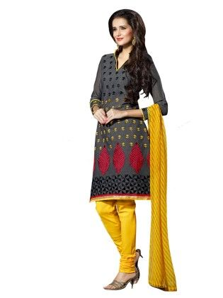 Touch Trends Black  Chanderi Cotton Silk Dress Material - Touch Trends Ethnic
