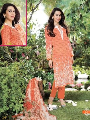 All Over Printed Orange Dress Material - Fashion Fiesta