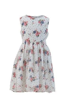 Ivory-peach Georgette Floral Printed Dress-1 - Magic Fairy