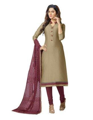 Unstitched Dress Material Brown & Purple - Riti Riwaz