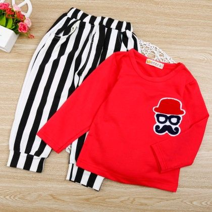 Red Tee With Striped Pants - Chirpy Frost