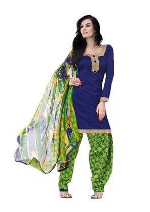 Blue Exclusive Cotton Satin Printed Dress Material With Matching Dupatta - Riti Riwaz