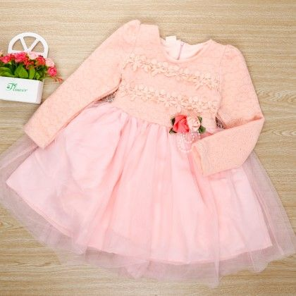 Stylish Pink Flared Dress With Lace Work On Bodice - Bella