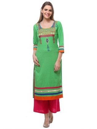 Long Cotton Kurta With Multi-coloured Gujraati Embroidery On Yoke Sleeves - Riti Riwaz