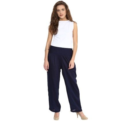 Shopingfever Navy Blue Trouser With Side Zipper