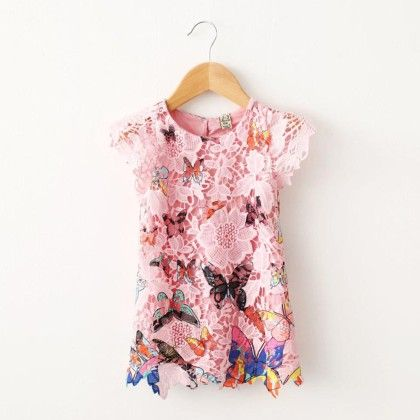 Butterfly Print Lace Shift Dress - Mauve Collection