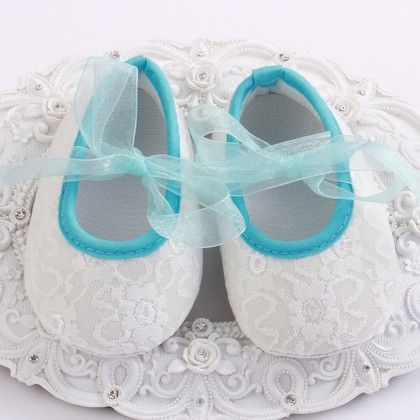 White And Blue Baby Girls Shoe With Lace Design - Angel Closet
