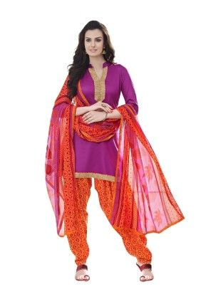 Purplr Exclusive Cotton Satin Printed Dress Material With Matching Dupatta - Riti Riwaz