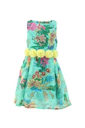 Emerald Green-yellow Georgette Floral Print Dress - Magic Fairy