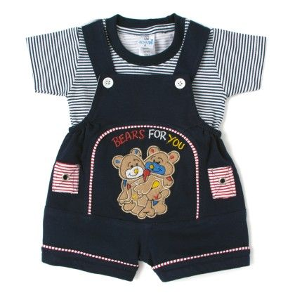 Bears For You Navy Romper With Navy & White Stripes Half Sleeves T-shirt - OllyKid