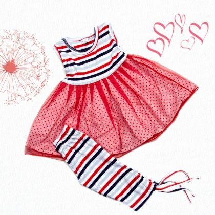 Red Stripes Top With Cotton Frock And Trosers - TINY TODDLER
