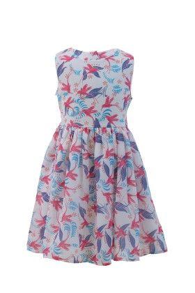 White-pink Georgette Bird Printed Dress - Magic Fairy