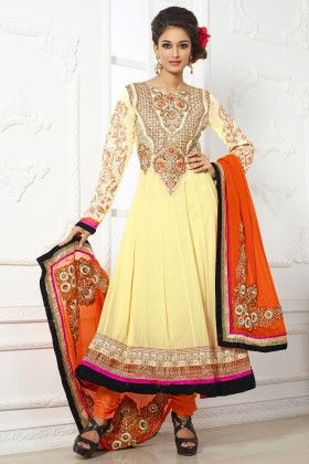 Yellow -georgette Dress Material - Touch Trends Ethnic