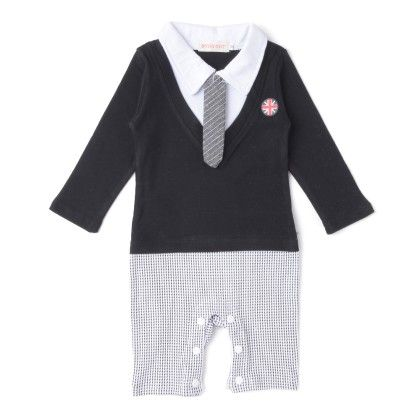 Cute Knee Length Black Checks Romper With Tie One Pc - Richy Lad