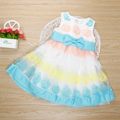 Beautiful Sleeveless Sea Green Dress With Bow - Bella