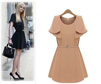 Beige Flared Sleeve With Belt - Oomph